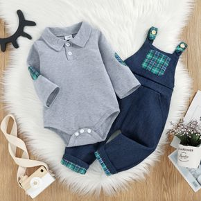 2pcs Baby Solid Long-sleeve Lapel Cotton Romper and Plaid Splicing Denim Overalls Set