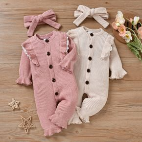 2-piece Baby Girl Ruffled Waffle Button Design Flared Long-sleeve Jumpsuit and Headband Set