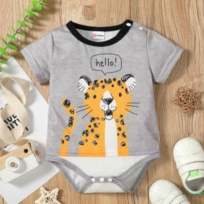 1pc Tiger and Letter Print Short-sleeve Baby Romper