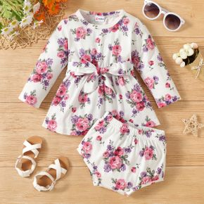 2-piece Baby Girl Floral Print Long-sleeve Top with Belt and Shorts Set