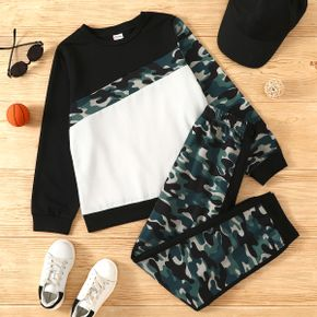 2-piece Kid Boy Camouflage Print Colorblock Long-sleeve Top and Elasticized Pants Set
