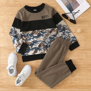 2-piece Kid Boy Letter Camouflage Print Pullover Sweatshirt and Colorblock Pants Set