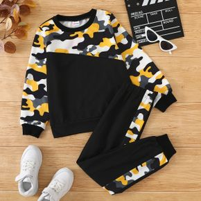 2-piece Kid Boy Camouflage Colorblock Pullover Sweatshirt and Pants Set