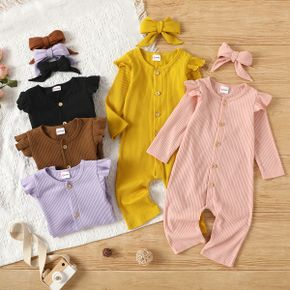 2pcs Baby Girl Solid Ruffle Long-sleeve Button Down Cotton Ribbed Jumpsuit Set