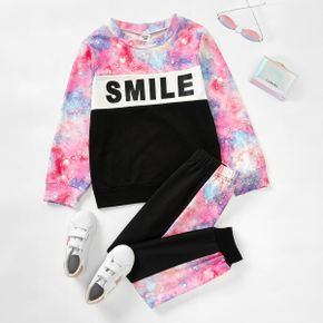 2-piece Kid Girl Letter Space Print Pullover and Elasticized Pants Casual Set