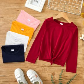 Kid Girl Casual Tie Knot Solid Color Long-sleeve Tee