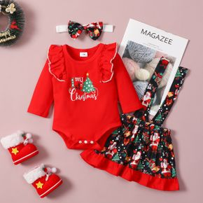 Christmas 3pcs Baby Letter and Tree Print Red Ruffle Long-sleeve Romper and Suspender Skirt Set
