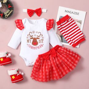 Baby 4pcs Christmas Letter Long-sleeve Romper and Red Plaid Mesh Skirts Set