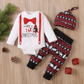 Christmas 3pcs Baby Bow Tie and Letter Print Long-sleeve Romper with Trousers Set