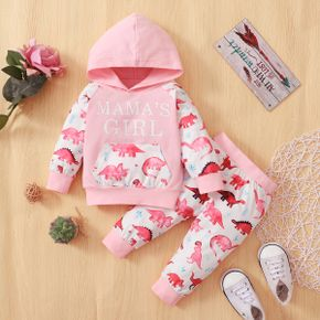 2pcs Baby Letter and Dinosaur Print Pink Long-sleeve Hoodie and Trousers Set