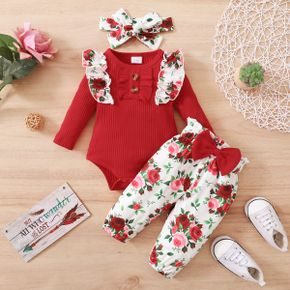 3pcs Baby Red Ribbed Long-sleeve Ruffle Romper and Rose Floral Print Bowknot Trousers Set