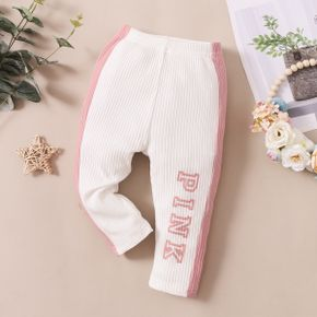 Baby Letter Print Color Block Cotton Ribbed Leggings