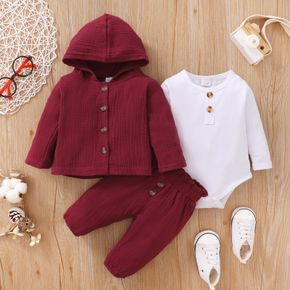 100% Cotton 3pcs Baby Solid Crepe Long-sleeve Hoodie with Trousers and Romper Set