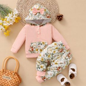 2pcs Baby Floral Print Long-sleeve Bowknot Hoodie and Trousers Set