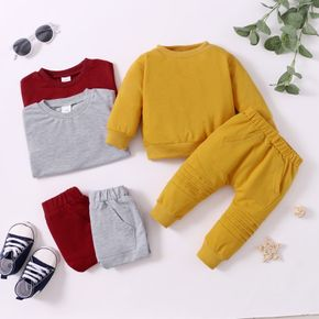 2-piece Baby Girl/Boy Solid Color Pullover Sweatshirt and Elasticized Pants Set