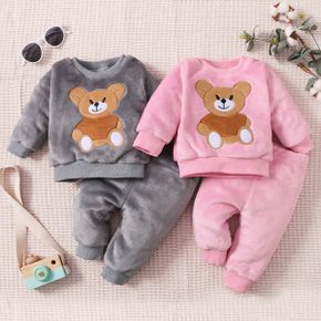 2-piece Baby Girl/Boy Bear Embroidered Fuzzy Velvet Sweatshirt and Solid Color Pants Set