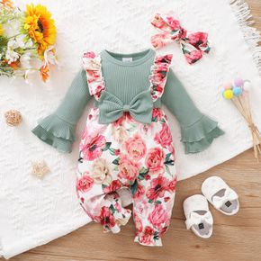 2pcs Baby Girl Green Ribbed Bell Sleeve Splicing Floral Print Ruffle Jumpsuit Set