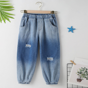 kid Boy/Kid Girl Ombre Ripped Denim Jeans with Pocket