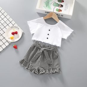 Kids Girl Button Ruffled Tee and Plaid Bowknot Shorts Set