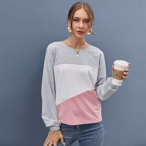 Multi-color Block Round Neck Long-sleeve Baggy Casual Pullover