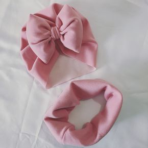 2-pack Bowknot Decor Solid Color Hat and Scarf Set