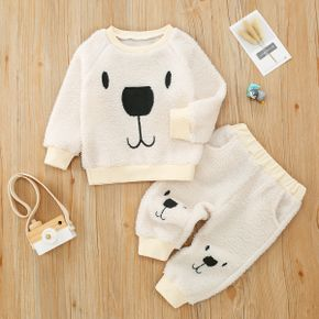 2pcs Baby Cartoon Bear Pattern White Long-sleeve Fleece Pullover and Trousers Set