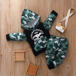 2pcs Camouflage Letter and Dinosaur Print Long-sleeve Hooded Baby Set