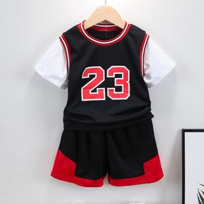 2-piece Toddler Boy Number Sporty Tee and Shorts Set