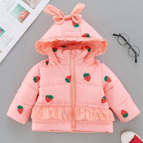 All Over Fruit Strawberry Print Pink Long-sleeve Hooded Ruffle Thickened Outwear Coat