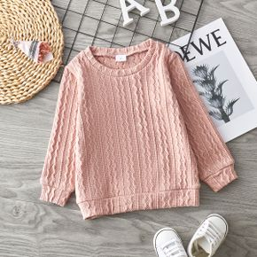 Toddler Girl Solid Casual Cable Knit Sweater