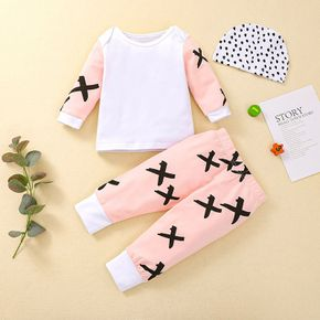 3pcs Baby Criss Cross Print White Long-sleeve Pullover and Trousers Set
