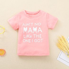 Letter Print Pink Baby Short-sleeve Cotton T-shirt