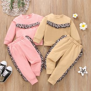 2-piece Toddler Girl Leopard Print Pullover Sweatshirt and Pants set