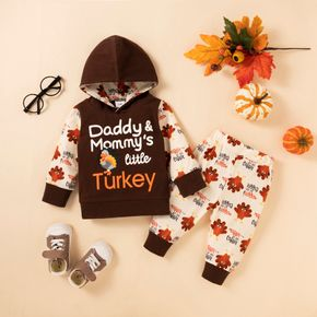 Baby 2pcs Letter and Turkey Print Long-sleeve Hoodie Set