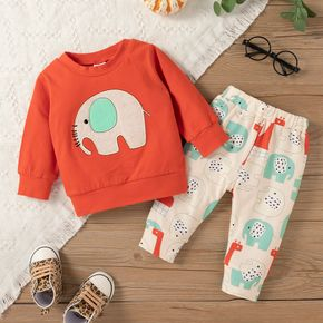 2pcs Baby Cartoon Elephant Pattern Long-sleeve Cotton Pullover and Trousers Set