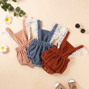 Baby Girl Lace Splicing Sleeveless Solid Corduroy Romper