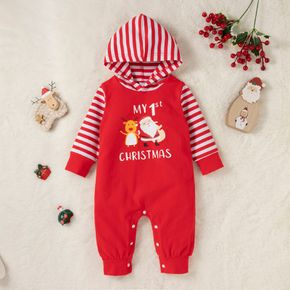 Christmas Cartoon Letter Print Red Baby Boy/Girl Striped Long-sleeve Hooded Cotton Jumpsuit