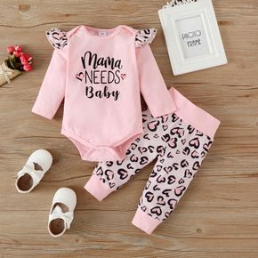 2pcs Baby Girl Letter Print Pink Long-sleeve Romper and Love Heart Leopard Trousers Set