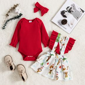 Christmas 3pcs Baby Red Long-sleeve Romper and All Over Snowman Print Ruffle Suspender Skirt Set