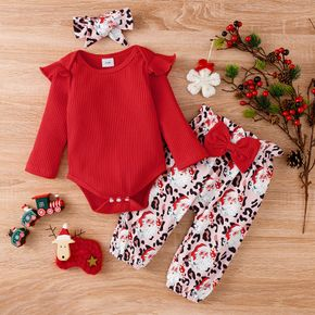 Christmas 3pcs Baby Girl Red Ribbed Long-sleeve Romper and All Over Santa Print Trousers Set