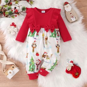 Christmas Baby Red Ribbed Long-sleeve Ruffle Bowknot Splicing Snowman Print Jumpsuit