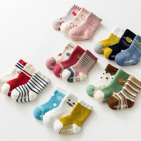 3-pack Baby / Toddler Multi-style Print Thick Terry Non-slip Socks