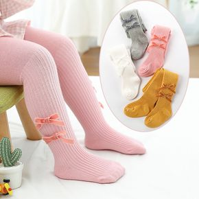 Baby / Toddler Dual Bowknot Decor Solid Color Ribbed Pantyhose