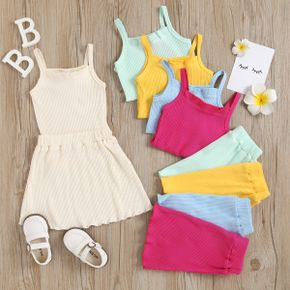 2-piece Toddler Girl Solid Color Ribbed Strap Tank Top and Skirt Set