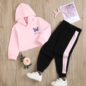 2-piece Toddler Girl Letter Butterfly Print Pink Hoodie and Colorblock Elasticized Pants Set