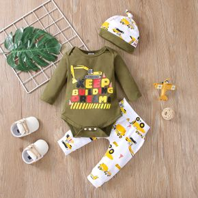 3pcs Baby Excavator and Letter Print Cotton Long-sleeve Romper and Trousers Set