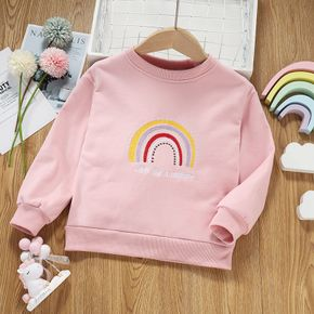 Toddler Girl Letter Rainbow Embroidered Pink Pullover Sweatshirt
