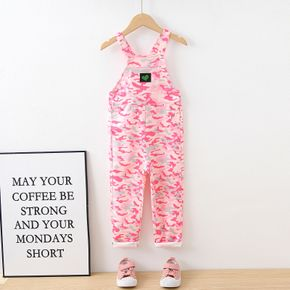 Fashionable Kid Girl Pink Camouflage Heart Embroidered Overalls