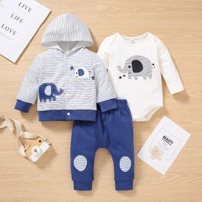 3pcs Baby Cartoon Elephant Pattern Striped Long-sleeve Hoodie with Trousers and Romper Set