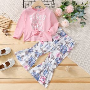 2-piece Toddler Girl Letter Print Twist Front Long-sleeve Pink Top and Floral Print Flared Pants Set